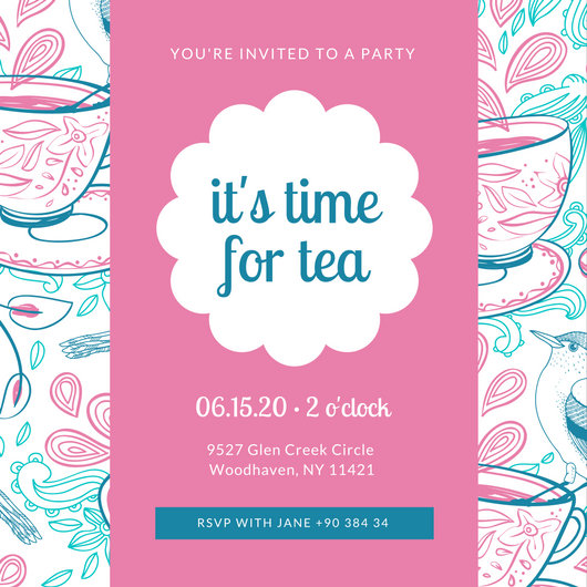 Pink Pattern Tea Party Invitation - Templates by Canva