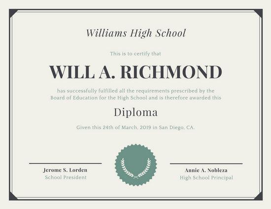 Customize 325+ High School Diploma Certificate templates online - Canva