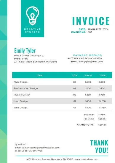 billing invoices templates