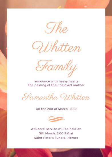 Peach Flower Photo Background Death Announcement - Templates by Canva - death announcement templates