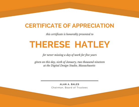 Modern Orange Certificate of Appreciation - Templates by Canva