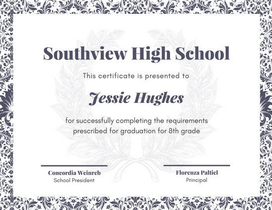 Customize 325+ High School Diploma Certificate templates online - Canva - school certificates pdf