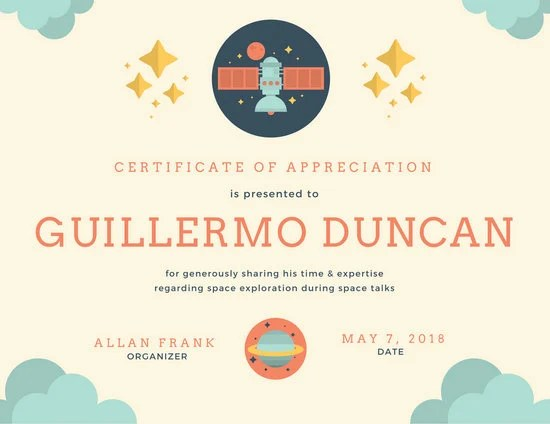 Colorful Illustrated Space Certificate of Appreciation - Templates