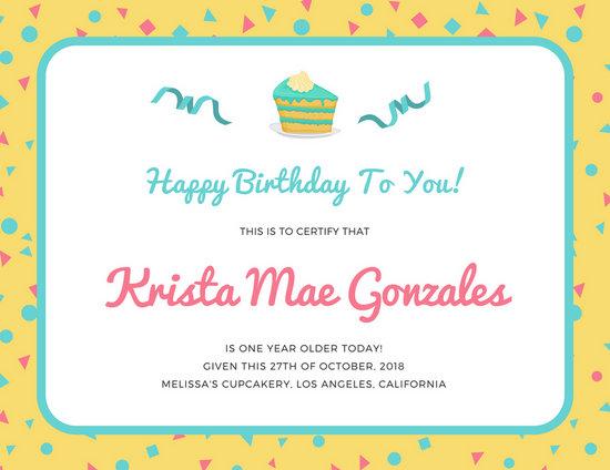 Colorful Confetti Cake Slice Birthday Certificate - Templates by Canva