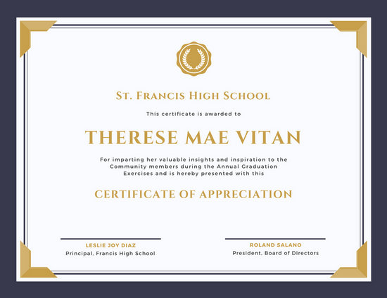 Appreciation Certificate Templates - Canva - school certificate templates
