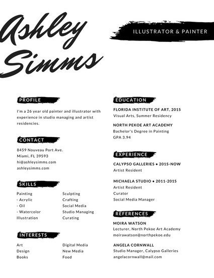Black and White Painting Brush Creative Resume - Templates by Canva - design studio manager sample resume