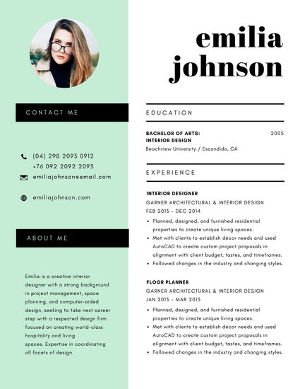 Mint Green  White Minimalist Modern Resume - Templates by Canva - Modern Resume Styles
