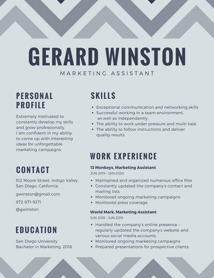 Gray Zigzag Creative Resume - Templates by Canva