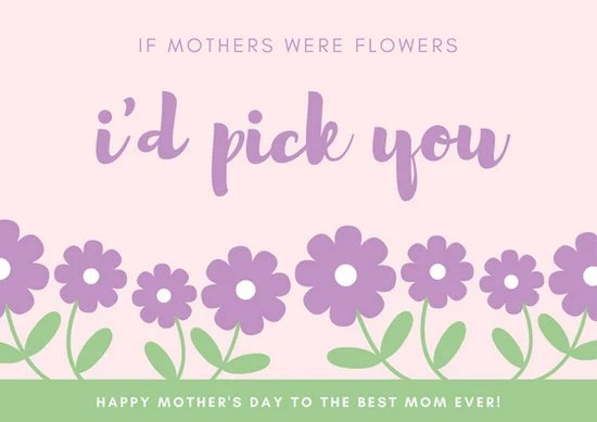 Purple and Green Flowers Mother\u0027s Day Card - Templates by Canva