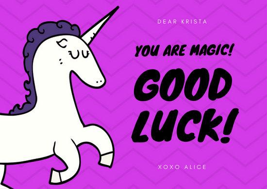 Purple Unicorn Good Luck Card - Templates by Canva - good luck card template