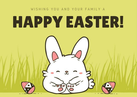 Green Cute Illustrated Bunny Easter Card - Templates by Canva