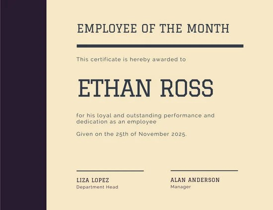 Employee of the Year Award Certificate - Templates by Canva - employee certificate sample
