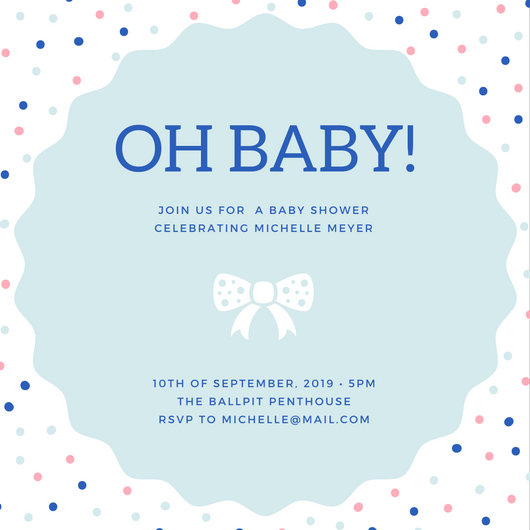 Polka Dotted Baby Shower Invitation - Templates by Canva