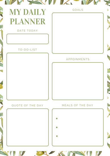 Green Leaves Daily Planner - Templates by Canva