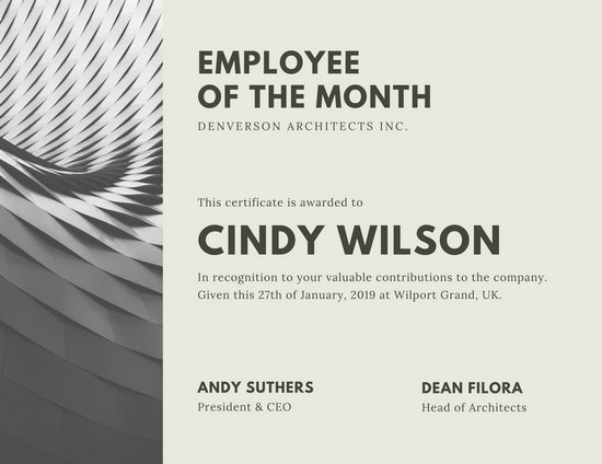 Gray Architect Employee of the Month Certificate - Templates by Canva