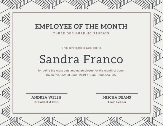 Employee Of The Month Certificate Template Word