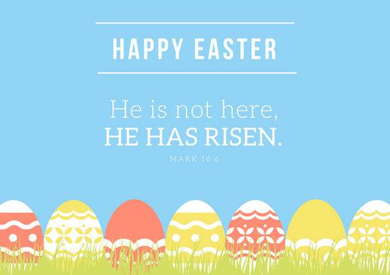 Light Blue  White With Easter Eggs Easter Greeting Card - Templates - easter greeting card template