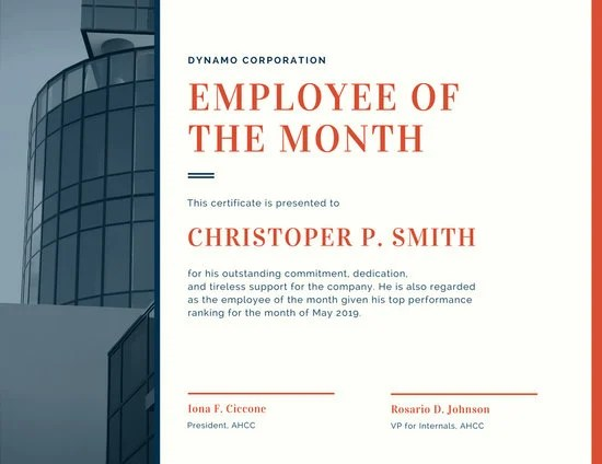Red Corporate Employee of the Month Certificate - Templates by Canva - corporate certificate template