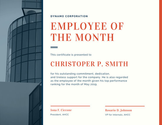 employee of the month certificate free template