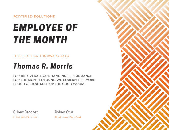 Free Employee Of The Month Certificate Template ideas of printable