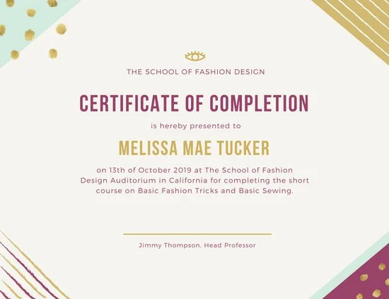 Certificate of completion design cvfreeo stylish colorful borders completion certificate templates by canva yelopaper Choice Image