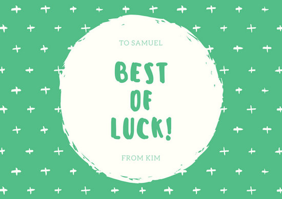 Green and Cream Goodluck Card - Templates by Canva