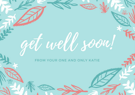 Blue Leaf Illustration Get Well Soon Card - Templates by Canva - get well soon card
