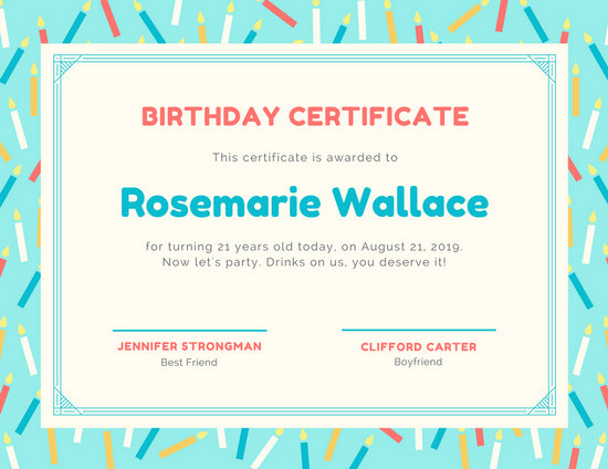 Aqua Candles Birthday Certificate - Templates by Canva