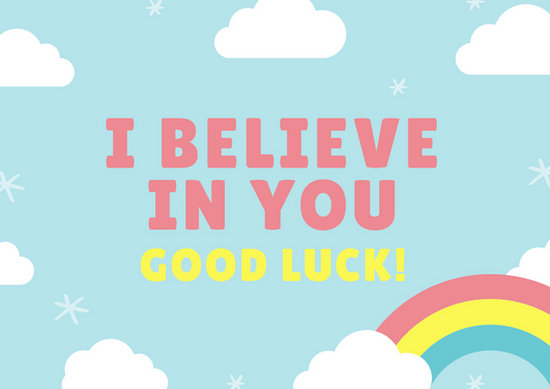 Sky Blue Clouds and Rainbow Good Luck Card - Templates by Canva