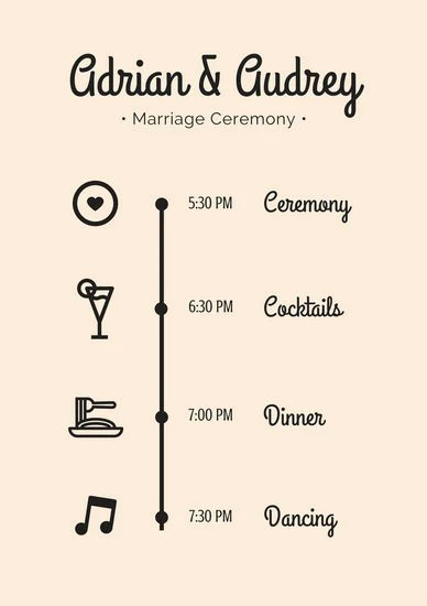 Peach Icons Wedding Event Program - Templates by Canva - Event Program