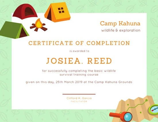 Green Camping Certificate of Completion - Templates by Canva - certificate of completion training