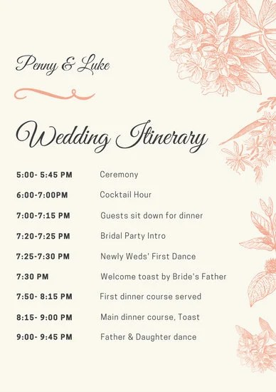 Peach Illustrated Wedding Itinerary - Templates by Canva