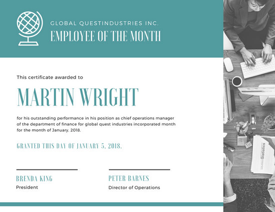 Customize 1,510+ Employee Of The Month Certificate templates online - free employee of the month certificate template
