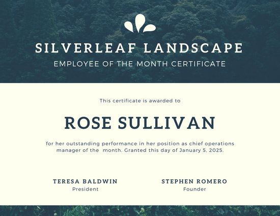 Green Nature Photo Employee of the Month Certificate - Templates by - fresh free employee of the month certificates
