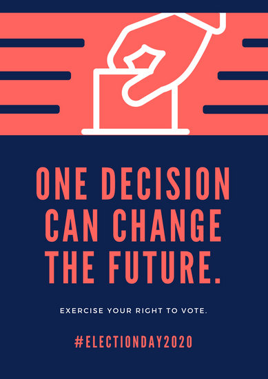 Volleyball Quotes Wallpapers Blue And Orange Simple Hand Voting Campaign Poster