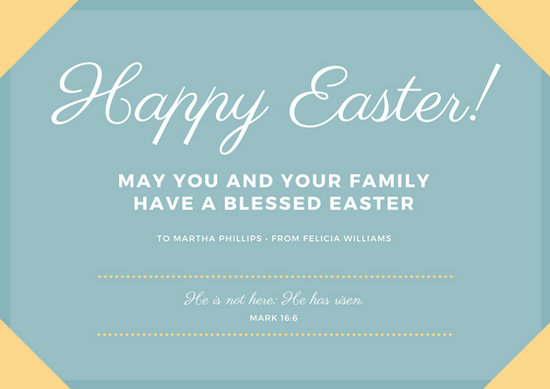 Light Yellow  Blue Easter Greeting Card - Templates by Canva - easter greeting card template