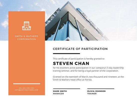 Orange  White Corporate Certificate of Participation - Templates by - design of certificate of participation