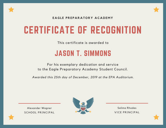 Blue Eagle and Stars Certificate of Recognition - Templates by Canva - student council certificates