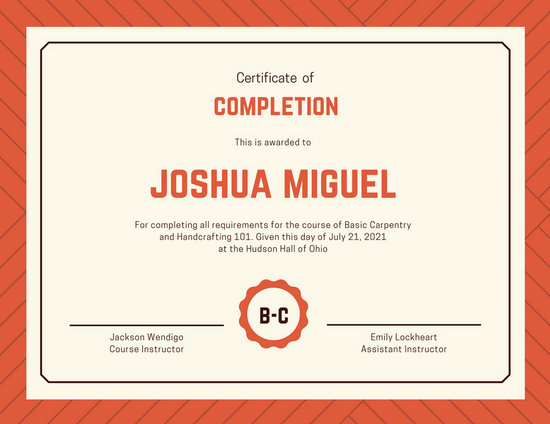sample of certificates of completion