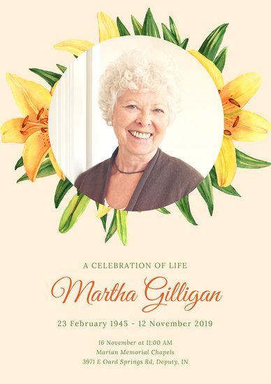 Customize 65+ Funeral Program templates online - Canva - funeral poster templates