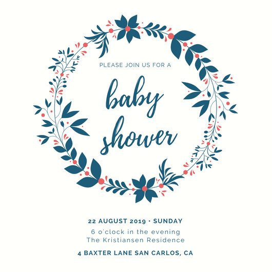 Blue Wreath Baby Shower Invitation - Templates by Canva