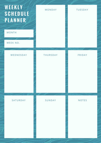 Customize 181+ Weekly Schedule Planner templates online - Canva - monday to sunday schedule template