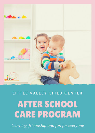 Pink and Blue Photo Daycare Flyer - Templates by Canva - daycare flyer