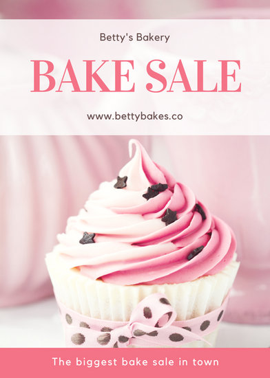 Pink Cupcake Photo Bake Sale Flyer - Templates by Canva
