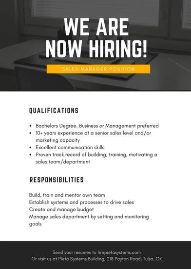 now hiring ad template