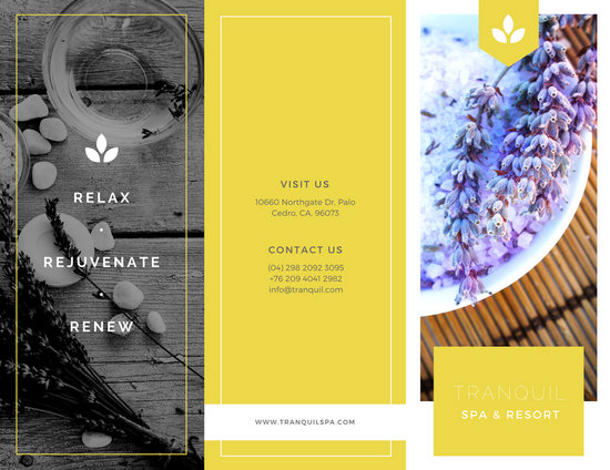 Yellow  White Elegant Modern Spa Trifold Brochure - Templates by Canva - spa brochure