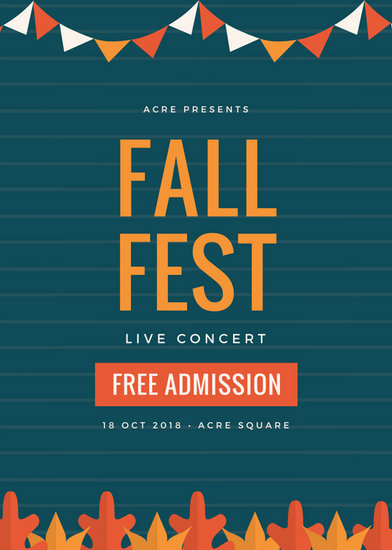 Dark Blue and Orange Fall Concert Festival Flyer - Templates by Canva