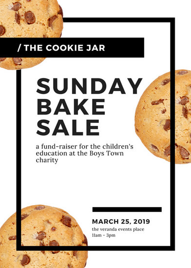 White  Black Modern Cookies Bake Sale Flyer - Templates by Canva