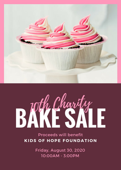 Pink Fuchsia Cupcake Photo Bake Sale Flyer - Templates by Canva