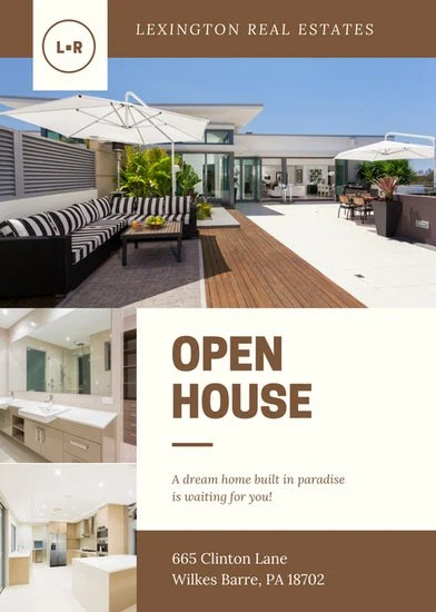 Brown Cream Modern Photo Open House Flyer - Templates by Canva - open house flyer